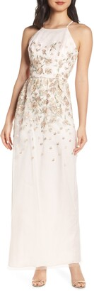 Chi Chi London Madelyn Embroidered Mesh Evening Dress