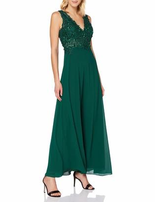 APART Fashion Women's Apart glamouroses Damen Kleid Lang Abendkleid Ballkleid groer Ruckenausschnitt mit Perlen und Pailletten Chiffon Special Occasion Dress