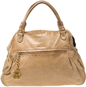 Miu Miu Beige Leather Lily Distressed Satchel