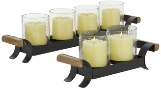 """Willow Row Small Tea Light Glass Candle Holders with Metal Stand in Black Finish and Natural Wood Handles - Set of 2: 12.75"""" - 21.25"""""""