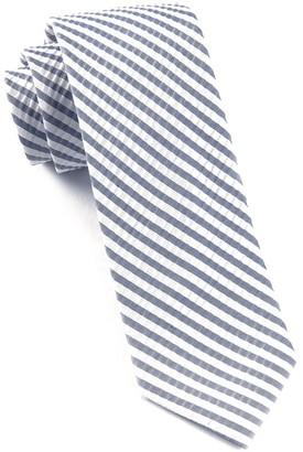 Tie Bar Silk Seersucker Stripe Midnight Navy Tie