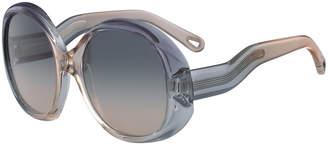 Chloé Qleo Semi-Transparent Oval Sunglasses