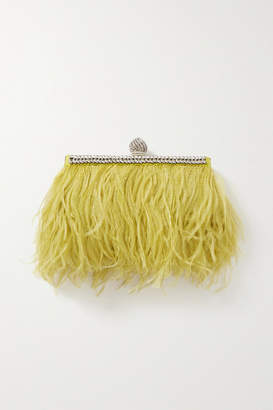 Jimmy Choo Celeste Feather And Crystal-embellished Satin Clutch - Yellow