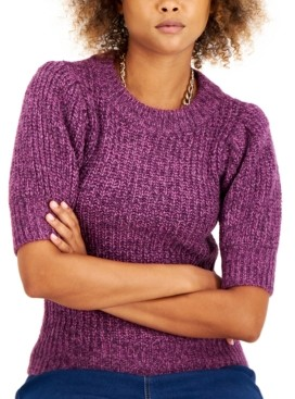 INC International Concepts Inc Marled Short-Sleeve Sweater, Created for Macy's
