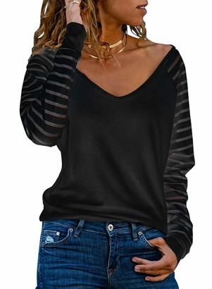 Modasua Women's Long Sleeve Tops Striped Sweatshirt V-Neck T Shirt Black Blouses Pullover Tops Size 12-14
