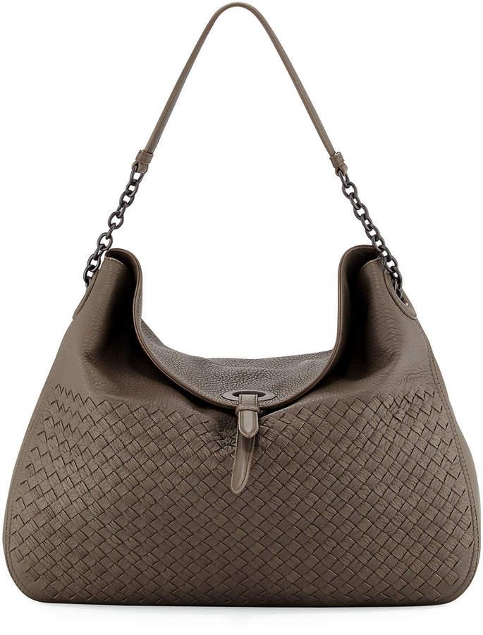 Bottega Veneta Intrecciato Cervo Flap-Top Hobo Bag
