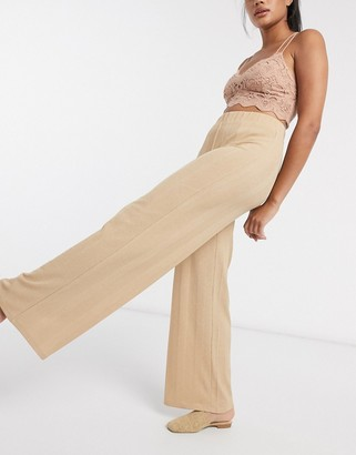 Vila wide leg lounge trousers in camel