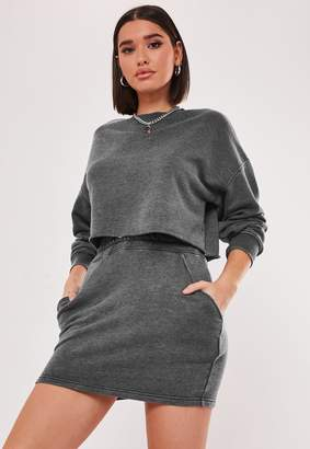 Missguided Dark Grey Co Ord Washed Mini Skirt