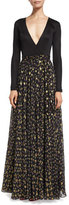Diane von Furstenberg Aviva Metallic Floral-Print Chiffon Maxi Dress