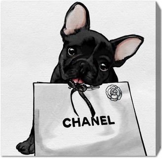 Oliver Gal Frenchie Glam White Bag Canvas Artby The Artist Co.