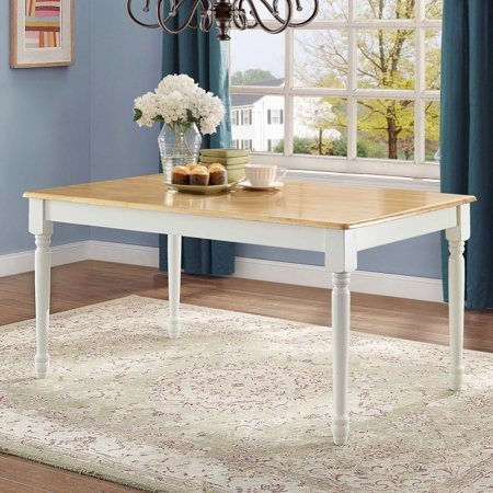 Better Homes & Gardens Better Homes and Gardens Autumn Lane Farmhouse Dining Table, White and Natural