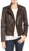 Vince Camuto Asymmetrical Leather Moto Jacket (Online Only)