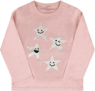 Stella McCartney Pink Babygirl T-shirt With Silver Stars