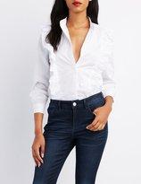 Charlotte Russe Ruffle-Trim Button-Up Shirt