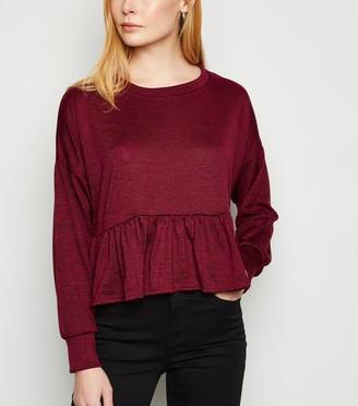 New Look Fine Knit Long Sleeve Peplum Top