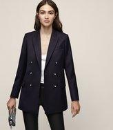 Reiss Mali - Double-breasted Longline Blazer in Blue, Womens