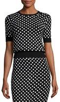 Michael Kors Polka-Dot Short-Sleeve Crewneck Sweater, Black/White