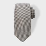 Paul Smith Men's Grey Dogtooth Pattern Wool-Blend Tie