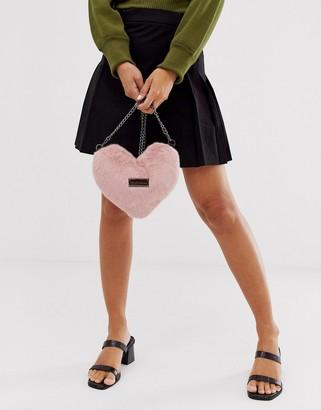 Claudia Canova fur heart bag in pink