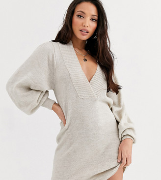Asos Tall ASOS DESIGN Tall deep v neck sweater dress with volume sleeve