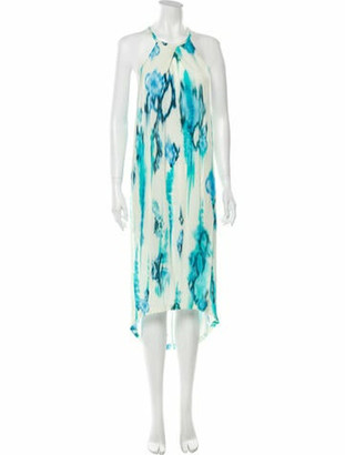 Matthew Williamson Silk Midi Length Dress Blue