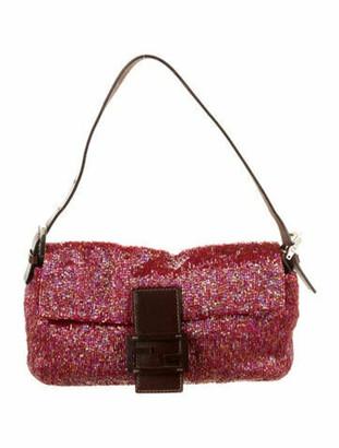 Fendi Leather-Trimmed Beaded Baguette Pink