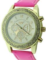 Golddigga Women's Quartz Watch with Beige Dial Analogue Display and Pink PU Strap DIG57/A