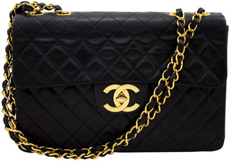 Chanel Black Lambskin Leather Jumbo Single Flap Chain Shoulder Bag