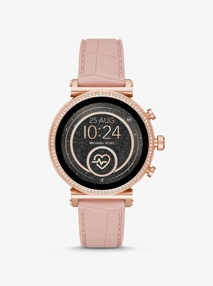 Michael Kors Sofie Heart Rate Rose Gold-Tone and Embossed Silicone Smartwatch