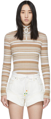 J.W.Anderson Beige and White Rib Neckband Turtleneck