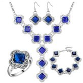 Babao Jewelry Jewelry Sets Babao Jewelry Luxury Clover Sapphire 925 Sterling Silver Plated Brass Cubic Zirconia Crystals Pendant Necklace Earrings Bracelet Set Ring Size 7