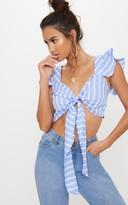 4fashion Blue Stripe Frill Tie Front Bralet