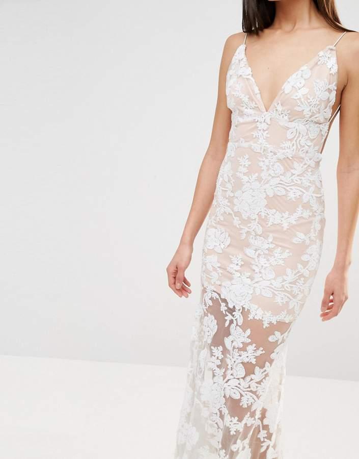 Club L Cami Strap Floral Sequin Fishtail Backless Maxi Dress