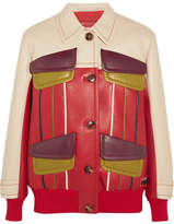 Prada Paneled Leather Jacket - Red