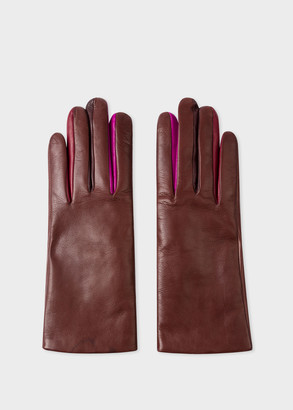 Paul Smith Women's Chocolate Brown Leather 'Concertina' Gloves With 'Swirl' Piping