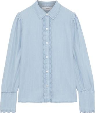Frame Scalloped Tencel-chambray Shirt