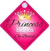 mybabyonboard UK Princess Bianca On Board Personalised Girl Car Sign Baby / Child Gift 001