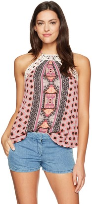 Taylor & Sage Women's Print Racer Tank with Crochet Lace