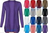 Fashion Wardrobe Womens Plus Size Drop Pocket Boyfriend Open Cardigan Tops Long Sleeves Casual