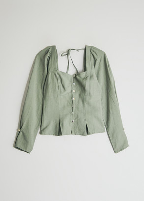 Farrow Women's Alexandra Button Up Top in Sage, Size Small