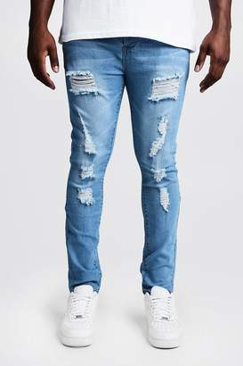 BoohoomanBoohooMAN Mens Blue Big & Tall Skinny Fit Jeans All Over Rips, Blue