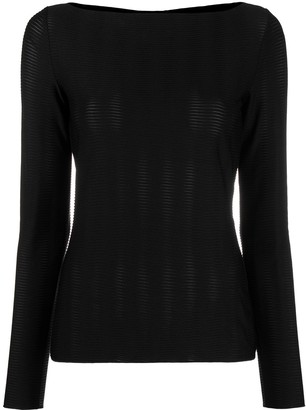 Emporio Armani Textured Long-Sleeve Top