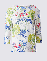 M&S Collection Floral Print 3/4 Sleeve Sweatshirt