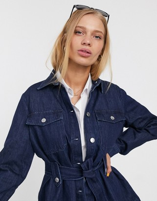 Selected Dana denim belted shacket