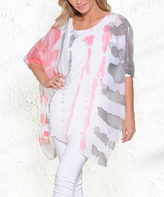 Paparazzi Gray & Pink Watercolor Sidetail Dolman-Sleeve Top