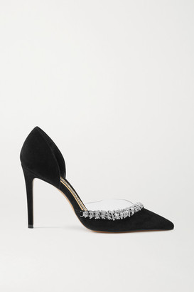 Alexandre Vauthier Ane Crystal-embellished Suede And Pvc Pumps - Black