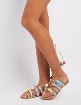 Charlotte Russe Embroidered Lace-Up Gladiator Sandals