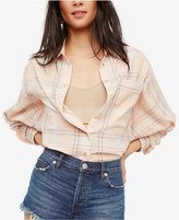 Free People Cotton Cropped Plaid Shirt