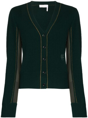Chloé contrasting-panel V-neck cardigan