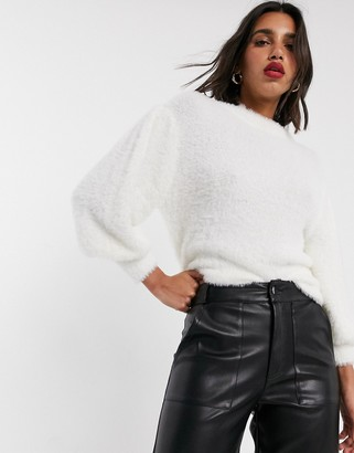 ASOS DESIGN eyelash sweater with volume sleeve